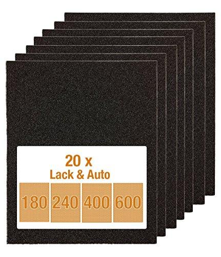 kwb Schleifpapier  (Lack & Auto, wasserfest, Siliziumcarbid bestreut, Sparpack 20 Stück)