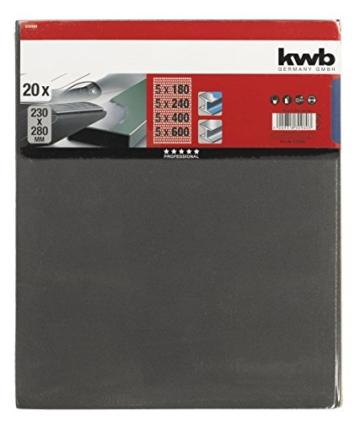 kwb Schleifpapier  (Lack & Auto, wasserfest, Siliziumcarbid bestreut, Sparpack 20 Stück) -