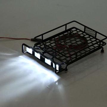 Dilwe RC Auto-Dachgepäckträger, großes Dachgepäckträger-Gepäckträger mit Quadrate-LED-Licht für Axial SCX10 1/10 RC-Crawler-Auto( 4 Weiß) -