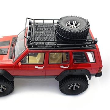 INJORA RC Dachträger Dachgepäckträger mit 4 LEDs Leuchten für 1: 10 RC Rock Crawler SCX10 II 90046 90047 Cherokee SCX10 D90 Jeep Wrangler -