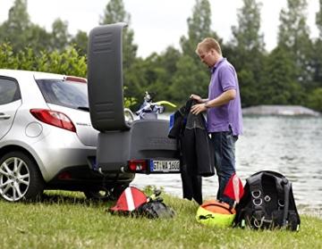 Westfalia Transportbox für Fahrradträger – Praktische Gepäckbox (wasserdicht) – Ideale Alternative zur Dachbox – Heckbox mit 200l Fassungsvermögen -