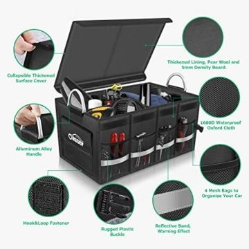 Oasser Kofferraumtasche Kofferraum-Organizer mit Deckel Auto Kofferraum Organizer Autotasche Auto Kofferraum Box Praktisch und Wasserdicht Verpackung MEHRWEG - 5