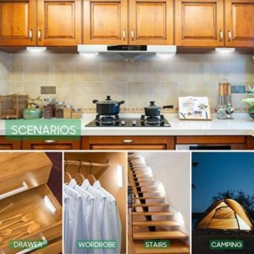 Racokky LED Sensor Licht 18 LEDs,Schrankbeleuchtung,Wiederaufladbar Schranklicht mit Bewegungsmelder,LED Küchenleuchte,Weiches Licht für Kleiderschrank,Kofferraum,Treppe,RV(4 Stück) - 2