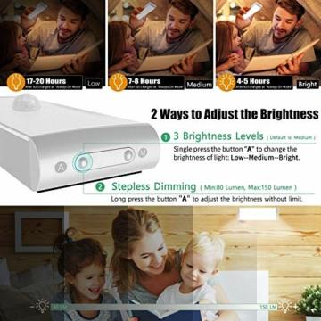Racokky LED Sensor Licht 18 LEDs,Schrankbeleuchtung,Wiederaufladbar Schranklicht mit Bewegungsmelder,LED Küchenleuchte,Weiches Licht für Kleiderschrank,Kofferraum,Treppe,RV(4 Stück) - 3