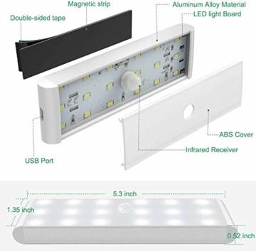 Racokky LED Sensor Licht 18 LEDs,Schrankbeleuchtung,Wiederaufladbar Schranklicht mit Bewegungsmelder,LED Küchenleuchte,Weiches Licht für Kleiderschrank,Kofferraum,Treppe,RV(4 Stück) - 7