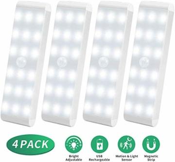 Racokky LED Sensor Licht 18 LEDs,Schrankbeleuchtung,Wiederaufladbar Schranklicht mit Bewegungsmelder,LED Küchenleuchte,Weiches Licht für Kleiderschrank,Kofferraum,Treppe,RV(4 Stück) - 9