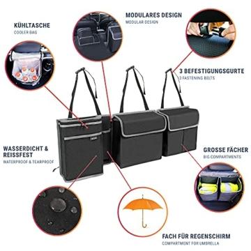 Vicera Kofferraum Organizer mit Klett – Kofferraumtasche fürs Auto mit teilbaren Modulen und integrierter Kühltasche – zur Ordnung & Aufbewahrung - 2