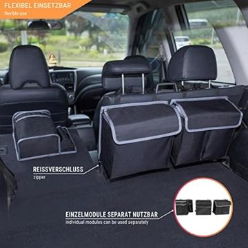 Vicera Kofferraum Organizer mit Klett – Kofferraumtasche fürs Auto mit teilbaren Modulen und integrierter Kühltasche – zur Ordnung & Aufbewahrung - 3