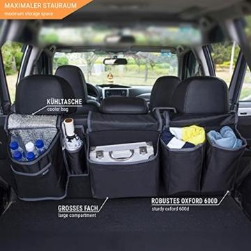 Vicera Kofferraum Organizer mit Klett – Kofferraumtasche fürs Auto mit teilbaren Modulen und integrierter Kühltasche – zur Ordnung & Aufbewahrung - 4