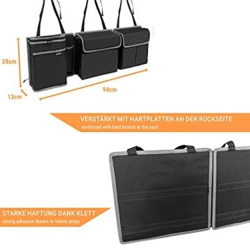 Vicera Kofferraum Organizer mit Klett – Kofferraumtasche fürs Auto mit teilbaren Modulen und integrierter Kühltasche – zur Ordnung & Aufbewahrung - 5