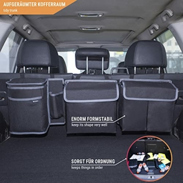 Vicera Kofferraum Organizer mit Klett – Kofferraumtasche fürs Auto mit teilbaren Modulen und integrierter Kühltasche – zur Ordnung & Aufbewahrung - 7